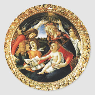 Madonna of the Magnificat Round Stickers