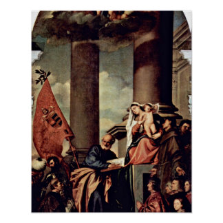 Madonna of the Pesaro family by Tiziano Vecelli Poster