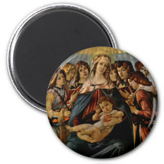 Madonna of the Pomegranate - Botticelli 6 Cm Round Magnet