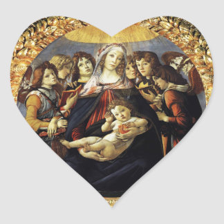 Madonna of the Pomegranate Heart Heart Stickers