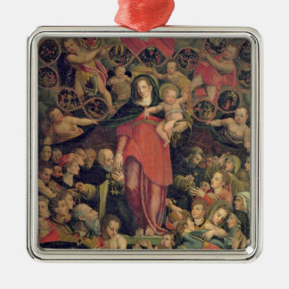 Madonna of the Rosary, c.1569 (oil on canvas) Silver-Colored Square Decoration