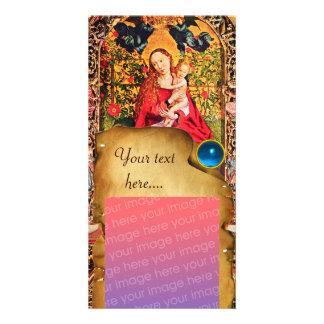 MADONNA OF THE ROSE BOWER PARCHMENT Blue Gem Card
