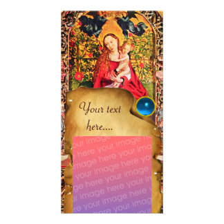 MADONNA OF THE ROSE BOWER PARCHMENT Blue Gem Personalised Photo Card