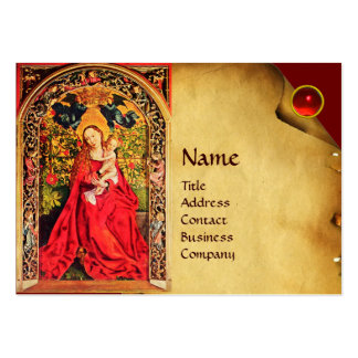 MADONNA OF THE ROSE BOWER PARCHMENT ,Red Ruby Gem Business Cards