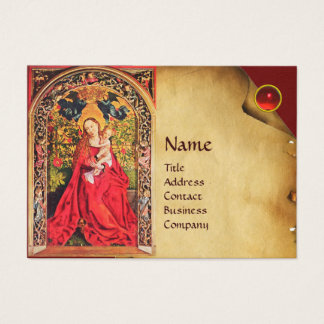 MADONNA OF THE ROSE BOWER PARCHMENT ,Red Ruby Gem Business Card
