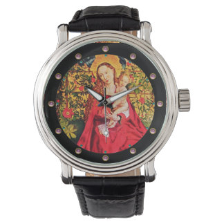 MADONNA OF THE ROSE BOWER ,PINK AMETHYST GEMS WRIST WATCHES