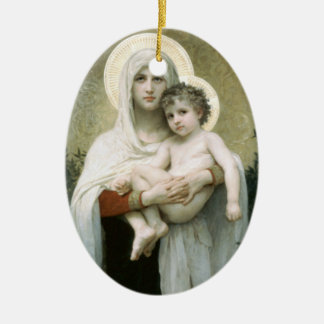 Madonna of the Roses Ceramic Oval Decoration