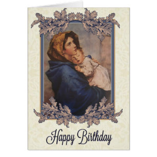 Jesus birthday cards invitations zazzle madonna wchild birthday card bookmarktalkfo Image collections