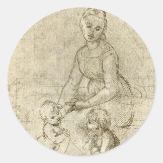 Madonna w Christ & St. John the Baptist by Rapahel Round Sticker