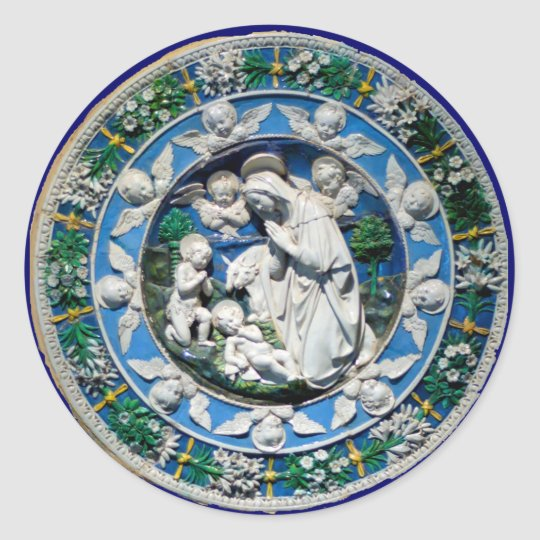 MADONNA WITH CHILD AND ANGELS ROUND STICKER