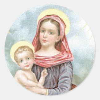 Madonna with Christ Child Round Sticker