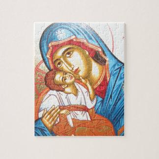 Madonna with Jesus Byzantine Religious Icon gold Jigsaw Puzzle