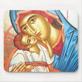 Madonna with Jesus Byzantine Religious Icon gold Mouse Mat