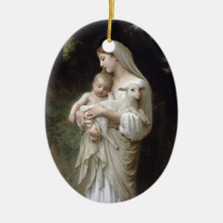 Madonna with Lamb - Bouguereau Double-Sided Oval Ceramic Christmas Ornament