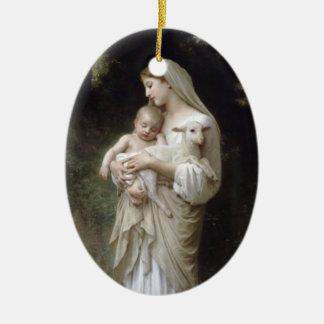 Madonna with Lamb - Bouguereau Ceramic Oval Decoration