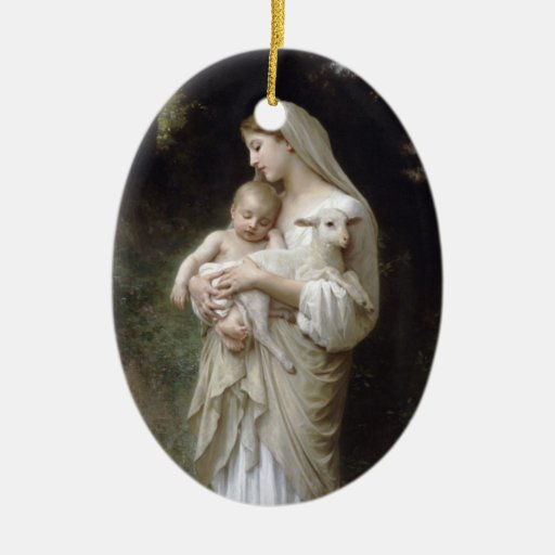 Madonna with Lamb - Bouguereau Christmas Tree Ornaments