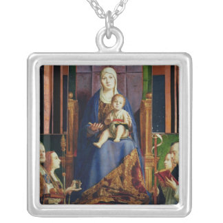 Madonna with Saint Nicholas of Bari Silver Plated Necklace