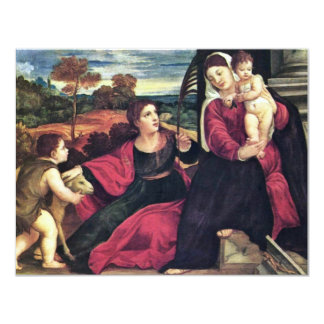 Madonna With St. Agnes And St. John The Baptist 11 Cm X 14 Cm Invitation Card