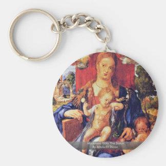 Madonna With The Siskin By Albrecht Dürer Basic Round Button Key Ring