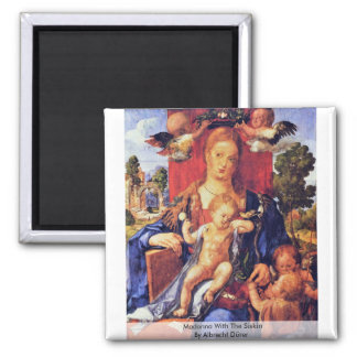 Madonna With The Siskin By Albrecht Dürer Square Magnet