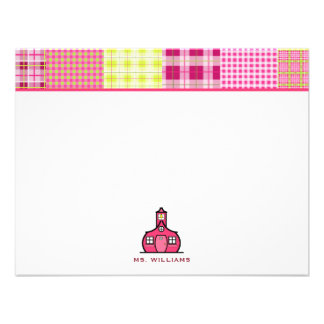 Madras Inspired Plaid Flat Notecards For Teachers Invite