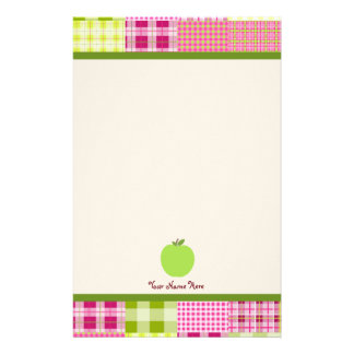 Madras Inspired Plaid & Green Apple Teacher Customised Stationery