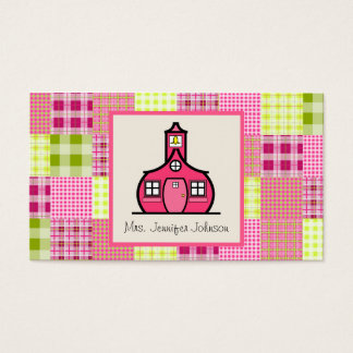 Madras Inspired Plaid / Pink Schoolhouse Teacher Business Card