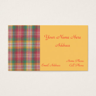 Madras Plaid Business Card