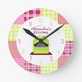 Madras Plaid Kitchen Clock