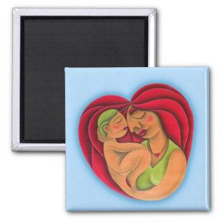 Madre y su hijo pintura óleo arte. Mom. Square Magnet