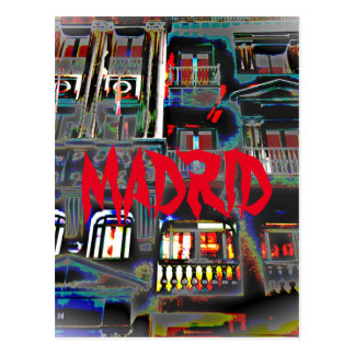 Madrid at night in the Great one Via (Spain) Postcard