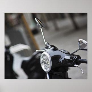 Madrid, black Vespa scooter Poster