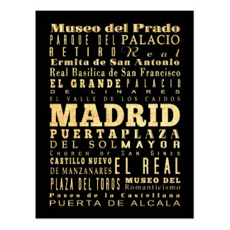 Madrid City of Spain Typography Art Postcard