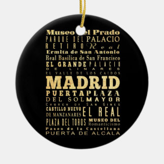 Madrid City of Spain Typography Art Round Ceramic Decoration