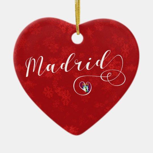 Madrid Heart, Christmas Tree Ornament, Spain Christmas Ornament