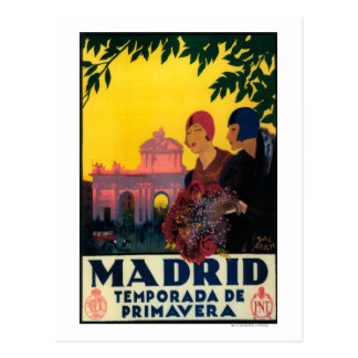 Madrid in Springtime Travel Promotional Poster Postcard