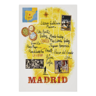 Madrid, Map, Travel Poster