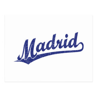 Madrid script logo in blue distressed postcard