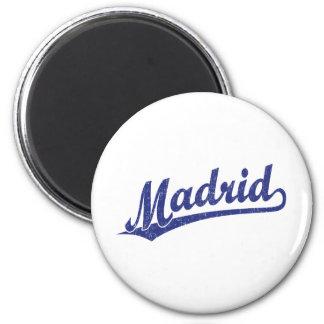 Madrid script logo in blue in blue distressed 6 cm round magnet