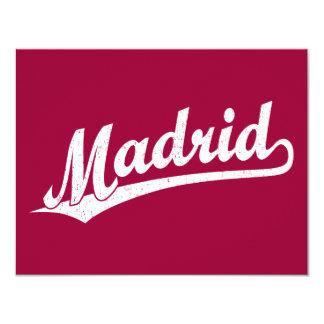 Madrid script logo in white distressed 11 cm x 14 cm invitation card