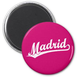Madrid script logo in white distressed 6 cm round magnet