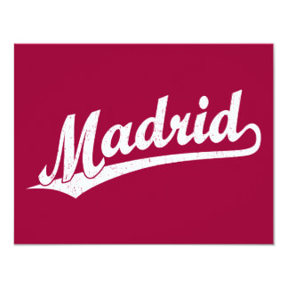 Madrid script logo in white distressed card
