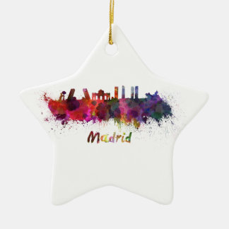 Madrid skyline in watercolor ceramic star decoration