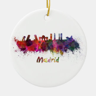 Madrid skyline in watercolor christmas ornament