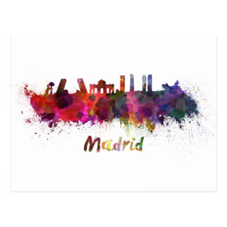 Madrid skyline in watercolor postcard