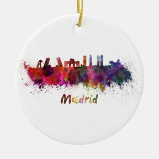 Madrid skyline in watercolor round ceramic decoration