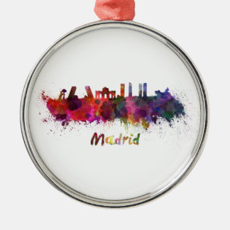 Madrid skyline in watercolor Silver-Colored round decoration