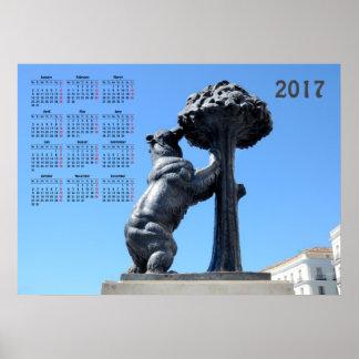 Madrid, Spain 2017 calendar Poster