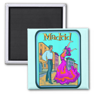 Madrid Travel Poster Square Magnet
