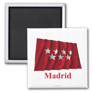 Madrid waving flag with name square magnet